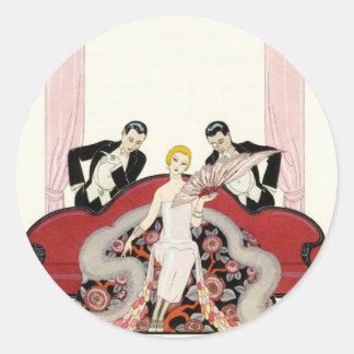 Elegant Lady in Paris Art Deco Stickers