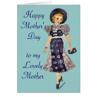 elegant lady mother's day card greeting card