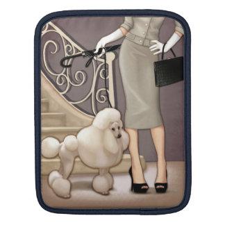 Elegant lady walking her poodle iPad sleeve