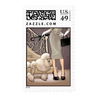 Elegant lady walking her poodle stamp