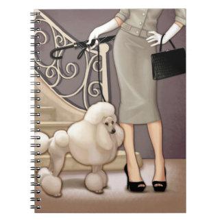 Elegant lady walking her poodle spiral notebook