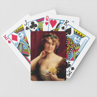 Elegant Lady With A Yellow Rose by Emile Vernon Bicycle Playing Cards