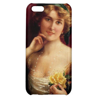Elegant Lady With A Yellow Rose by Emile Vernon Cover For iPhone 5C