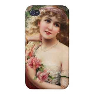 Elegant Lady With A Yellow Rose by Emile Vernon iPhone 4/4S Covers