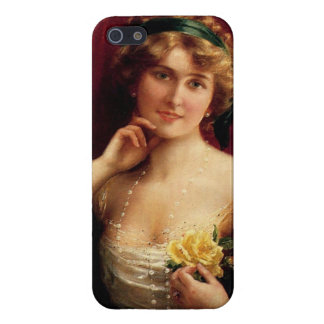 Elegant Lady With A Yellow Rose by Emile Vernon iPhone SE/5/5s Cover