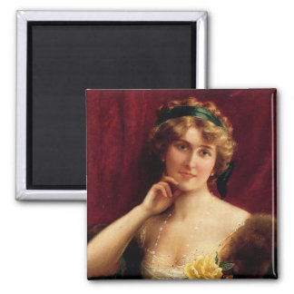 Elegant Lady With A Yellow Rose by Émile Vernon Magnet