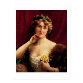 Elegant Lady With A Yellow Rose - Émile Vernon Postcard