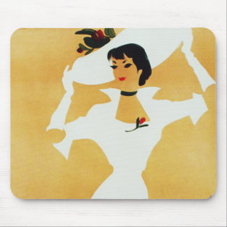 Elegant Lady with Large Picture Hat Mouse Pad