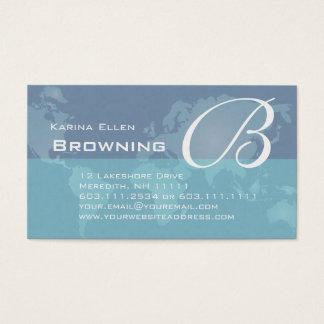 Elegant Lady's Monogram World Map Global Business Card