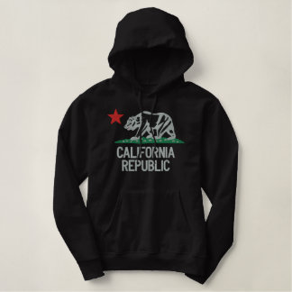 Elegant Large California Republic Embroidery Embroidered Hoodie