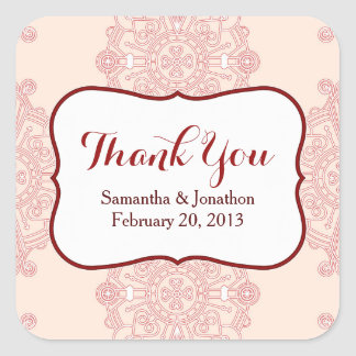 Elegant Large Red Medallion Wedding Thank You Square Sticker