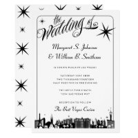 Elegant Las Vegas Strip Skyline Wedding Invitation