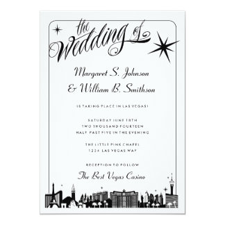 Elegant Las Vegas Strip Skyline Wedding Invitation