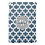 Elegant Lattice Navy Blue and Gray Personalized Case For The iPad Mini