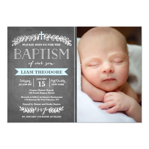 Elegant Laurels Blue  Baptism Invitation