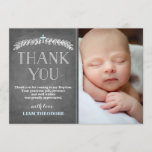 "Elegant Laurels Blue | Baptism Photo Thank You<br><div class=""desc"">This Baptism thank you photo card is the perfect blend of modern and classy. Opt for a textured paper or die-cut shape for an extra special touch.</div>"