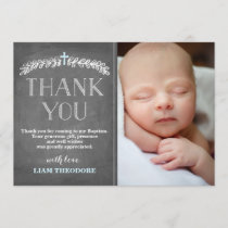 Elegant Laurels Blue | Baptism Photo Thank You