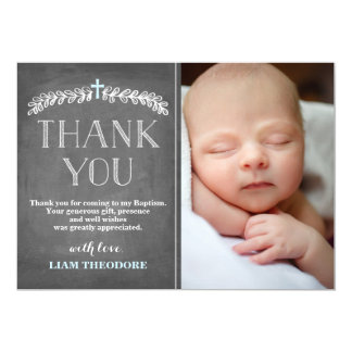 Elegant Laurels Blue | Baptism Photo Thank You Card