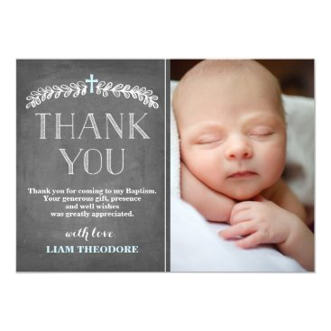 Toddler & Baby themed Elegant Laurels Blue | Baptism Photo Thank You Card