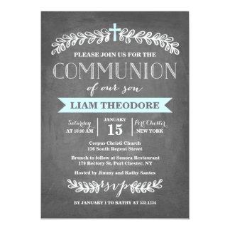 Elegant Laurels Blue | Communion Invitation