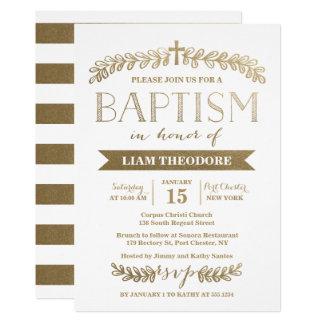 Elegant Laurels Gold | Baptism Invitation