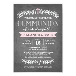 Elegant Laurels Pink | Communion Invitation
