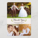 """Elegant Laurels Wedding Thank You Photo Flat Card<br><div class=""""desc"""">Elegant Laurels Wedding Thank You Photo Flat Card. Please note: The images in this design are placeholders only. Please replace them with photos of your own before purchasing. This three photo wedding thank you card can be customized with your own photos and text. Cream/Ivory background on both front and back....</div>"""