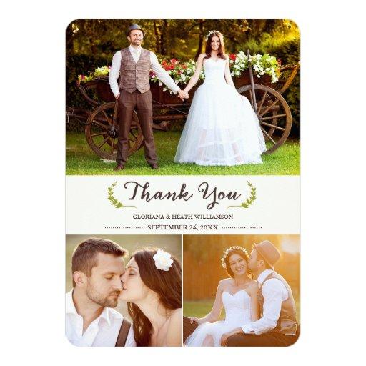 Elegant Laurels Wedding Thank You Photo Flat Card Custom Invites