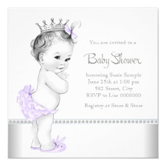 "Elegant Lavender and Silver Baby Shower 5.25"" Square Invitation Card"