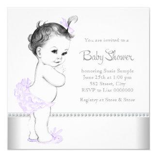 Elegant Lavender and Silver Baby Shower Custom Invitations
