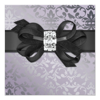 Elegant Lavender and Silver Invitation with Bow