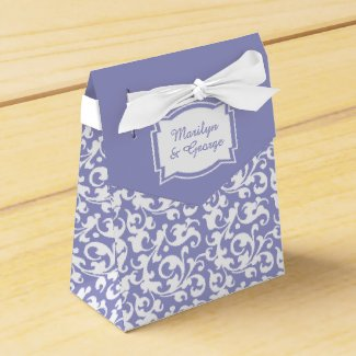 Elegant Lavender and White Damask Swirls Wedding Party Favor Box