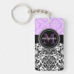 Elegant Lavender Black Damask Personalized Acrylic Keychains