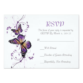 Elegant Lavender Butterfly Swirls RSVP card