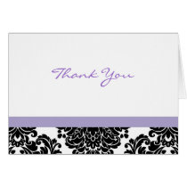 Elegant Lavender Damask Thank You Note Cards