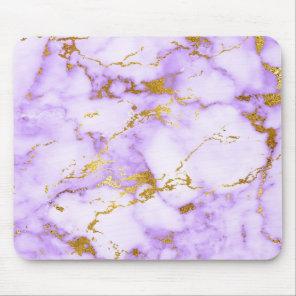 Elegant Lavender Gold Faux Metallic Marble Pattern Mouse Pad
