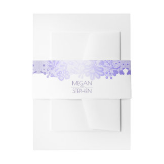 Elegant Lavender Lace White Wedding Invitation Belly Band