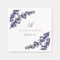 Elegant Lavender Monogram Wedding Napkin