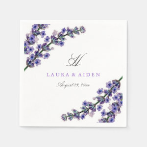 Elegant Lavender Monogram Wedding Napkin