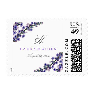 Elegant Lavender Monogram Wedding Stamps