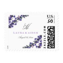 Elegant Lavender Monogram Wedding Stamps