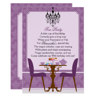Elegant Lavender Purple Damask Birthday Tea Party Card