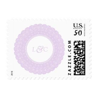 Elegant lavender/purple lace monogram postage