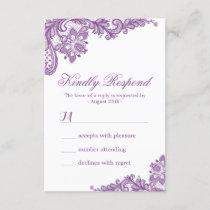 Elegant Lavender Purple Lace Pattern RSVP