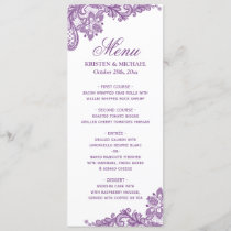 Elegant Lavender Purple Lace Pattern Wedding Menu