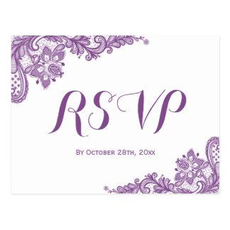 Elegant Lavender Purple Lace Wedding RSVP Postcard