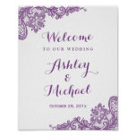 Elegant Lavender Purple Lace Wedding Sign