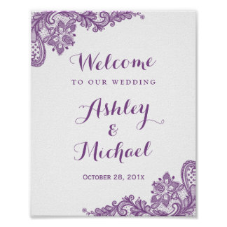 Elegant Lavender Purple Lace Wedding Sign