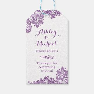 Elegant Lavender Purple Lace Wedding Thank You Gift Tags