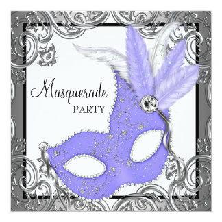 Elegant Lavender Purple Mask Masquerade Party Card